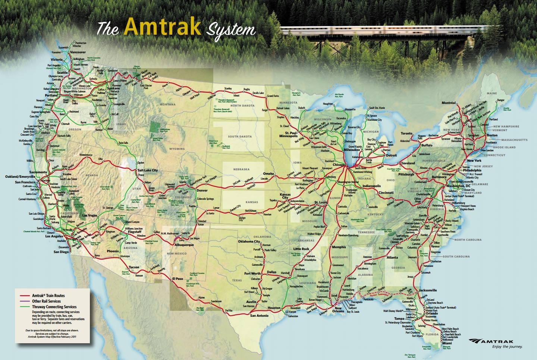 Amtrak System Map Amtrak System Map